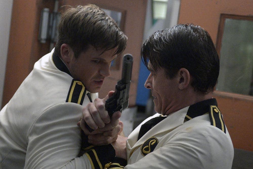 "TIMELESS -- ""Atomic City"" Episode 102 -- Pictured: (l-r) Matt Lanter as Wyatt Logan, Goran Visnjic as Garcia Flynn -- (Photo by: Sergei Bachlakov/NBC)"