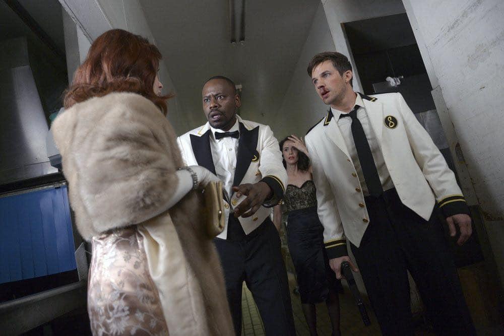 "TIMELESS -- ""Atomic City"" Episode 102 -- Pictured: (l-r) Malcolm Barrett as Rufus Carlin, Abigail Spencer as Lucy Preston, Matt Lanter as Wyatt Logan -- (Photo by: Sergei Bachlakov/NBC)"