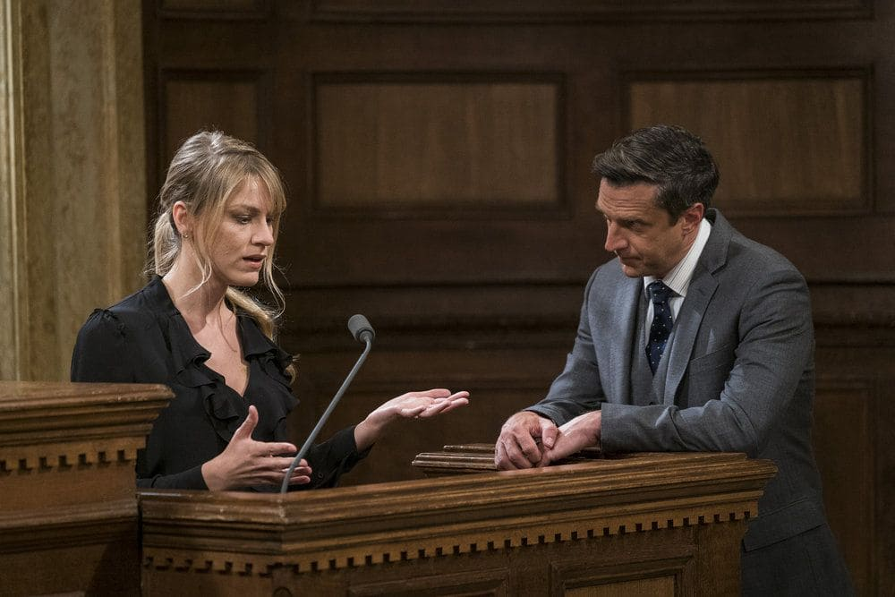 """LAW & ORDER: SPECIAL VICTIMS UNIT -- """"Heightened Emotions"""" Episode 1805 -- Pictured: (l-r) Brit Morgan as Jenna Miller, Raúl Esparza as Rafael Barba -- (Photo by: Michael Parmelee/NBC)"""
