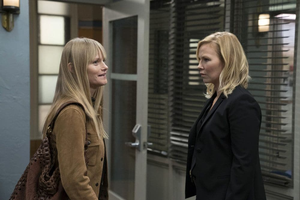 """LAW & ORDER: SPECIAL VICTIMS UNIT -- """"Heightened Emotions"""" Episode 1805 -- Pictured: (l-r) Lindsay Pulsipher as Kim Rollins, Kelli Giddish as Amanda Rollins -- (Photo by: Peter Kramer/NBC)"""