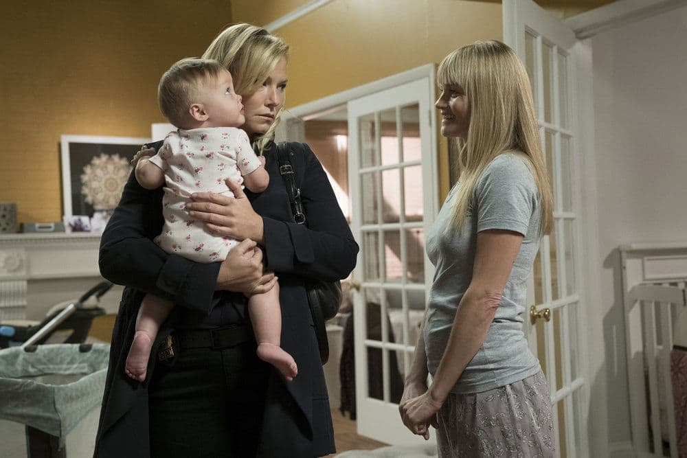 """LAW & ORDER: SPECIAL VICTIMS UNIT -- """"Heightened Emotions"""" Episode 1805 -- Pictured: (l-r) Kelli Giddish as Amanda Rollins, Lindsay Pulsipher as Kim Rollins -- (Photo by: Peter Kramer/NBC)"""