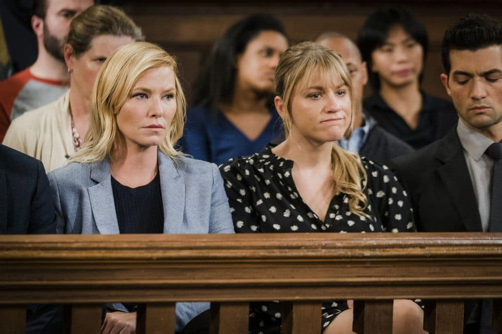 """LAW & ORDER: SPECIAL VICTIMS UNIT -- """"Heightened Emotions"""" Episode 1805 -- Pictured: (l-r) Kelli Giddish as Amanda Rollins, Brit Morgan as Jenna Miller -- (Photo by: Michael Parmelee/NBC)"""