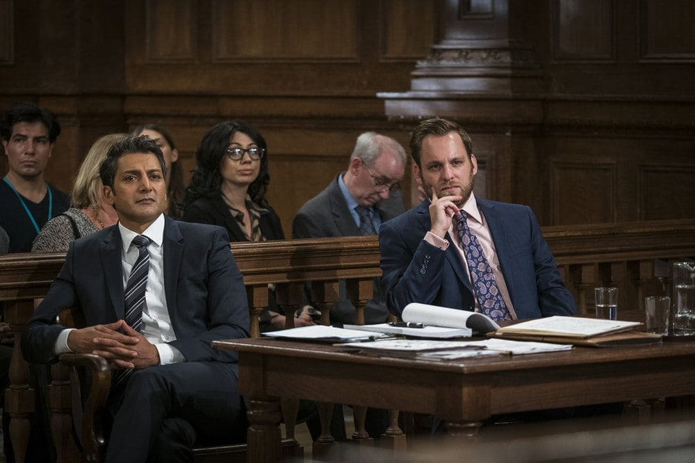 """LAW & ORDER: SPECIAL VICTIMS UNIT -- """"Heightened Emotions"""" Episode 1805 -- Pictured: (l-r) Hari Dhillon as Attorney Sunil Varma, Theo Stockman as Michale Wheeler -- (Photo by: Michael Parmelee/NBC)"""