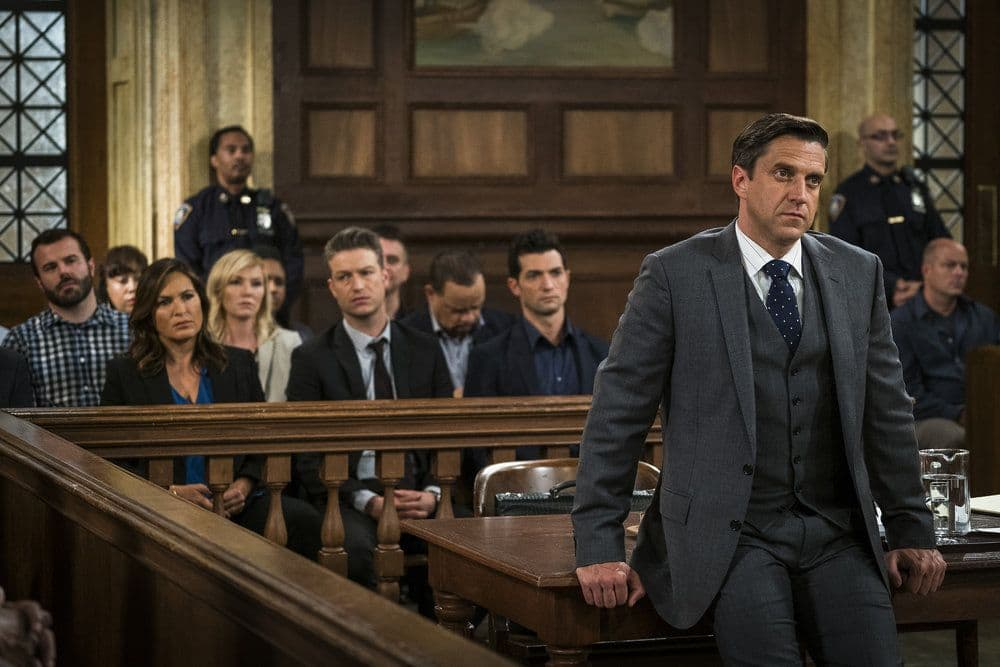"""LAW & ORDER: SPECIAL VICTIMS UNIT -- """"Heightened Emotions"""" Episode 1805 -- Pictured: Raúl Esparza as Rafael Barba -- (Photo by: Michael Parmelee/NBC)"""