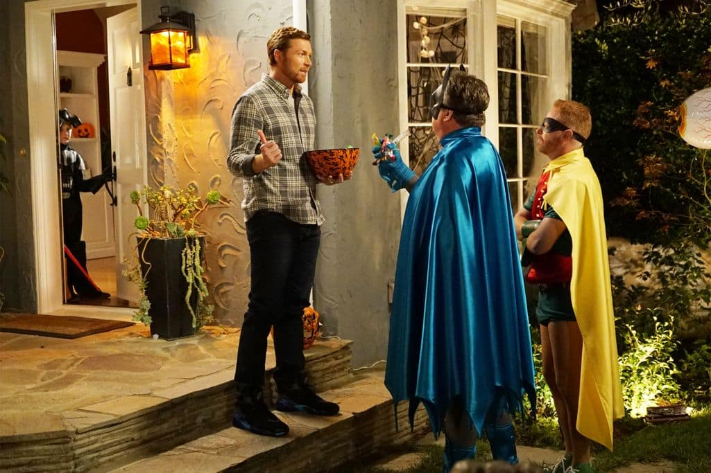 "MODERN FAMILY - ""Halloween 4: The Revenge of Rod Skyhook"" - Luke's Halloween party isn't the monster bash he dreamed of and is at risk of having the worst party of the year. Sensing trouble, the rest of the Dunphy's realize all his party needs is a visit from Rod Skyhook, a little promotion and some adult supervision to get it started. Meanwhile at the Tucker-Pritchett home, Cam faces off with his Halloween nemesis while Lily and Mitchell try to save the day and work to keep him from going to the darkside. Finally, when Jay finds out that Manny is going to a party at the home of an old enemy, he enlists him to deliver a trick he will never forget. ""Modern Family"" airs WEDNESDAY, OCTOBER 26 (9:00-9:30 p.m. EDT), on the ABC Television Network. (ABC/Kevin Estrada) SAM DALY, ERIC STONE STREET, JESE TYLER FERGUSON"