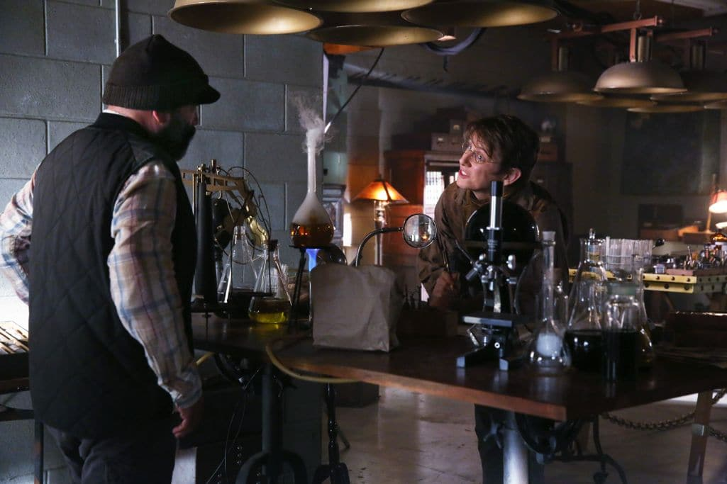 """ONCE UPON A TIME - """"Strange Case"""" - The Evil Queen and Hyde continue on their quest to steal Dr. Jekyll's serum; Snow looks forward to her first day back as a school teacher; and while Emma looks forward to Hook moving in with her, Hook finds himself trying to protect Belle from Mr. Gold, who has made sure she can't leave the confines of the pirate ship.  Meanwhile, back in the past, Rumplestiltskin helps Dr. Jekyll complete his serum to separate a man's personality into two - good and evil - but his help comes with a hefty price, on """"Once Upon a Time,"""" SUNDAY, OCTOBER 16 (8:00-9:00 p.m. EDT), on the ABC Television Network. (ABC/Jack Rowand) LEE ARENBERG, DAVID AVALON"""