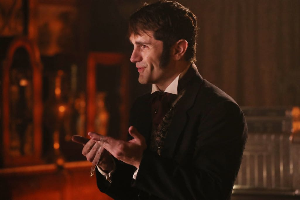 "ONCE UPON A TIME - ""Strange Case"" - The Evil Queen and Hyde continue on their quest to steal Dr. Jekyll's serum; Snow looks forward to her first day back as a school teacher; and while Emma looks forward to Hook moving in with her, Hook finds himself trying to protect Belle from Mr. Gold, who has made sure she can't leave the confines of the pirate ship.  Meanwhile, back in the past, Rumplestiltskin helps Dr. Jekyll complete his serum to separate a man's personality into two - good and evil - but his help comes with a hefty price, on ""Once Upon a Time,"" SUNDAY, OCTOBER 16 (8:00-9:00 p.m. EDT), on the ABC Television Network. (ABC/Jack Rowand) SAM WITWER"