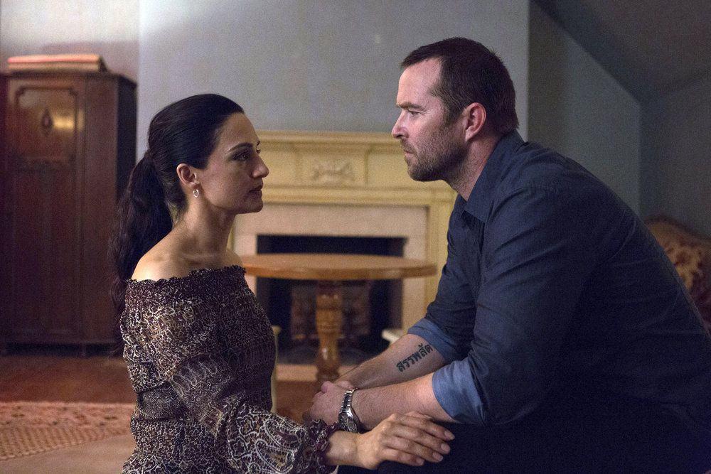 "BLINDSPOT-- ""Her Spy's Mind"" Episode 206 -- Pictured: (l-r) Archie Panjabi as Nas Kamal, Sullivan Stapleton as Kurt Weller -- (Photo by: Giovanni Ruffino/NBC)"