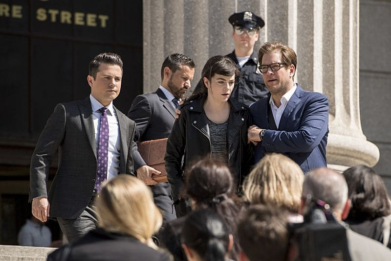 """Unambiguous""--Bull and his team tackle jury bias against their client, a woman on trial for the murder of a star athlete she very publicly accused of assaulting her, on a popular podcast. Also, the case brings Benny face-to-face with his former flame, Amanda (Tiffany Villarin), a fellow attorney he hasn't seen since their breakup, on BULL, Tuesday, Oct. 11 (9:00-10:00 PM, ET/PT) on the CBS Television Network. Pictured: Freddy Rodriguez as Benny Colón, Celeste Arias as Reese Burton, and Michael Weatherly as Dr. Jason Bull Photo: David Giesbrecht/CBS ©2016CBS Broadcasting, Inc. All Rights Reserved"