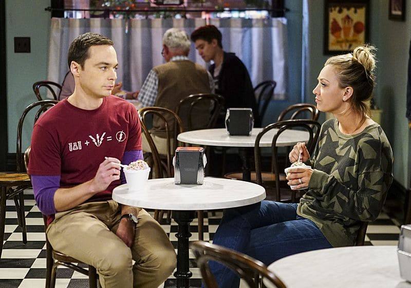 """The Hot Tub Contamination"" -- Pictured: Sheldon Cooper (Jim Parsons) and Penny (Kaley Cuoco). Leonard and Penny must separate a quarreling Sheldon and Amy when their cohabitation does not go as planned, and Sheldon threatens to break off their relationship when Amy refuses to adhere to the bathroom schedule. Also, Howard and Bernadette find unexpected guests at their house when they decide to stay home from a planned vacation, on THE BIG BANG THEORY, Monday, Oct. 17 (8:00-8:31 PM, ET/PT), on the CBS Television Network. Photo: Sonja Flemming/CBS ©2016 CBS Broadcasting, Inc. All Rights Reserved."