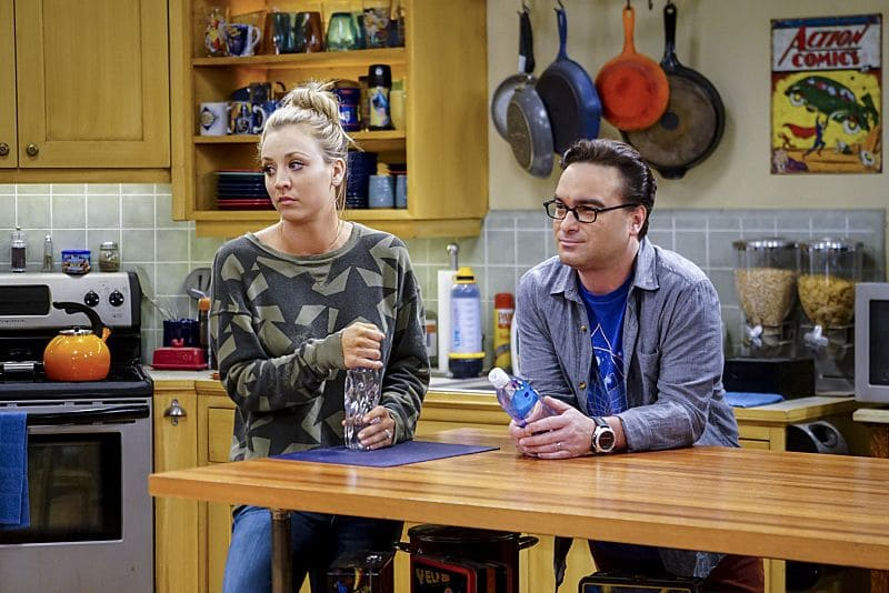 """The Hot Tub Contamination"" -- Pictured: Penny (Kaley Cuoco) and Leonard Hofstadter (Johnny Galecki). Leonard and Penny must separate a quarreling Sheldon and Amy when their cohabitation does not go as planned, and Sheldon threatens to break off their relationship when Amy refuses to adhere to the bathroom schedule. Also, Howard and Bernadette find unexpected guests at their house when they decide to stay home from a planned vacation, on THE BIG BANG THEORY, Monday, Oct. 17 (8:00-8:31 PM, ET/PT), on the CBS Television Network. Photo: Sonja Flemming/CBS ©2016 CBS Broadcasting, Inc. All Rights Reserved."