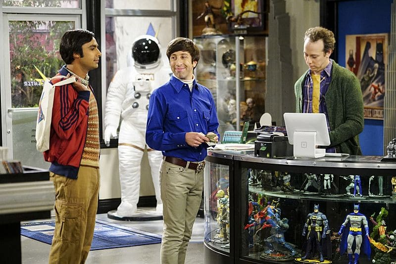 """The Hot Tub Contamination"" -- Pictured: Rajesh Koothrappali (Kunal Nayyar), Howard Wolowitz (Simon Helberg) and Stuart (Kevin Sussman). Leonard and Penny must separate a quarreling Sheldon and Amy when their cohabitation does not go as planned, and Sheldon threatens to break off their relationship when Amy refuses to adhere to the bathroom schedule. Also, Howard and Bernadette find unexpected guests at their house when they decide to stay home from a planned vacation, on THE BIG BANG THEORY, Monday, Oct. 17 (8:00-8:31 PM, ET/PT), on the CBS Television Network. Photo: Sonja Flemming/CBS ©2016 CBS Broadcasting, Inc. All Rights Reserved."