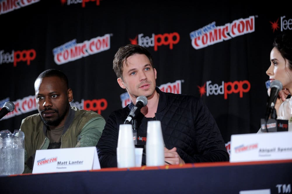"""NEW YORK COMIC CON 2016 -- """"Timeless"""" Panel -- Pictured: (l-r) Malcolm Barrett, Matt Lanter, Abigail Spencer on Sunday, October 9, 2016 from the Javits Center in New York, NY -- (Photo by: Brad Barket/NBC)"""