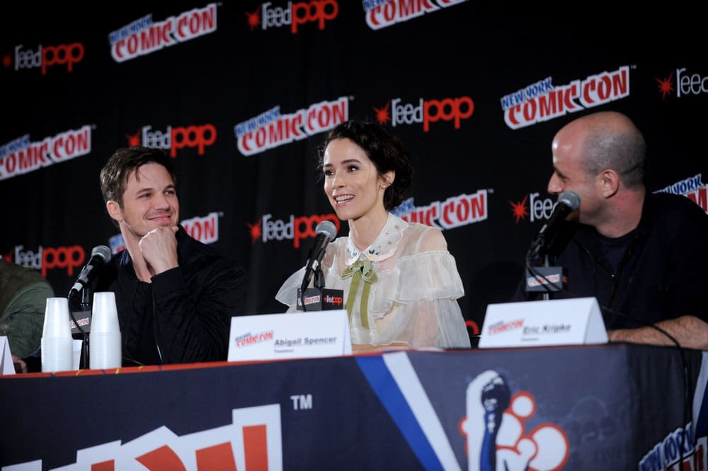 """NEW YORK COMIC CON 2016 -- """"Timeless"""" Panel -- Pictured: (l-r) Matt Lanter, Abigail Spencer, Executive Producer Eric Kripke on Sunday, October 9, 2016 from the Javits Center in New York, NY -- (Photo by: Brad Barket/NBC)"""