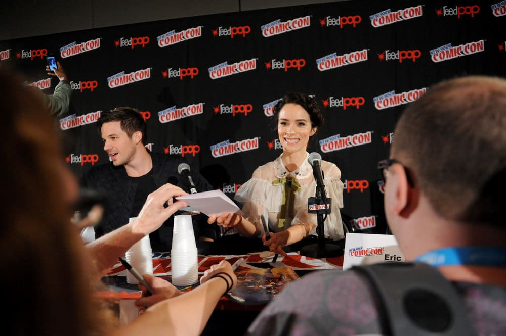 """NEW YORK COMIC CON 2016 -- """"Timeless"""" Panel -- Pictured: (l-r) Matt Lanter, Abigail Spencer on Sunday, October 9, 2016 from the Javits Center in New York, NY -- (Photo by: Brad Barket/NBC)"""