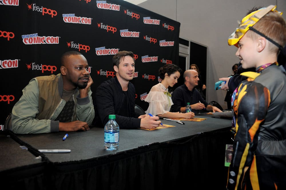 """NEW YORK COMIC CON 2016 -- """"Timeless"""" Autographs -- Pictured: (l-r) Malcolm Barrett, Matt Lanter, Abigail Spencer, Executive Producer Eric Kripke on Sunday, October 9, 2016 from the Javits Center in New York, NY -- (Photo by: Brad Barket/NBC)"""