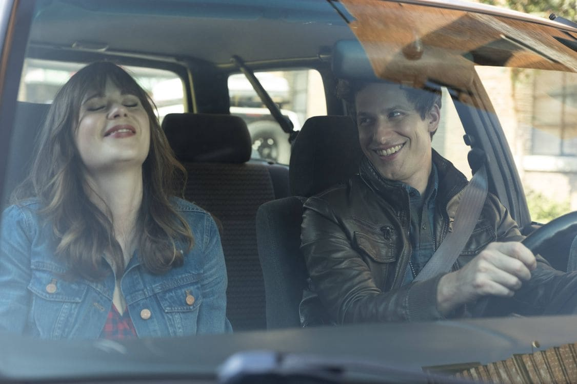 "BROOKLYN NINE-NINE: L-R: Guest Star Zooey Deschanel and Andy Samberg in the special ""The Night Shift"" crossover episode of BROOKLYN NINE-NINE airing Tuesday, Oct. 11 (8:00-8:31 PM ET/PT) on FOX. ©2016 Fox Broadcasting Co. Cr: John P Fleenor/FOX."