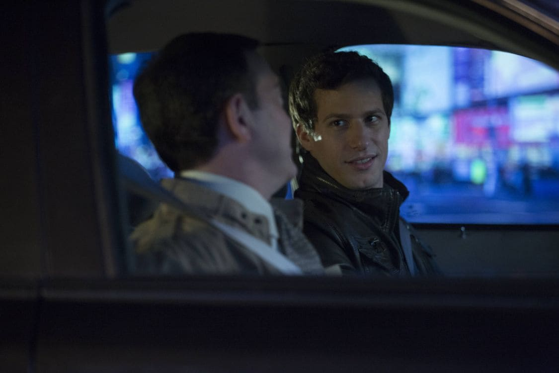 "BROOKLYN NINE-NINE: L-R: Joe Lo Truglio and Andy Samberg in the special ""The Night Shift"" crossover episode of BROOKLYN NINE-NINE airing Tuesday, Oct. 11 (8:00-8:31 PM ET/PT) on FOX. ©2016 Fox Broadcasting Co. Cr: John P Fleenor/FOX."