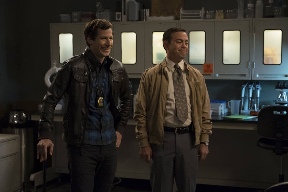 "BROOKLYN NINE-NINE: L-R: Andy Samberg and Joe Lo Truglio in the special ""The Night Shift"" crossover episode of BROOKLYN NINE-NINE airing Tuesday, Oct. 11 (8:00-8:31 PM ET/PT) on FOX. ©2016 Fox Broadcasting Co. Cr: John P Fleenor/FOX."