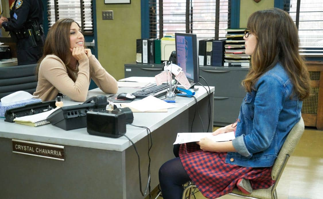 "NEW GIRL: L-R; Guest star Chelsea Peretti and Zooey Deschanel in the special ""Homecoming"" NEW GIRL/BROOKLYN NINE-NINE crossover episode of NEW GIRL airing Tuesday, Oct. 11 (8:31-9:01 PM ET/PT) on FOX. ©2015 Fox Broadcasting Co. Cr: Adam Taylor/FOX"