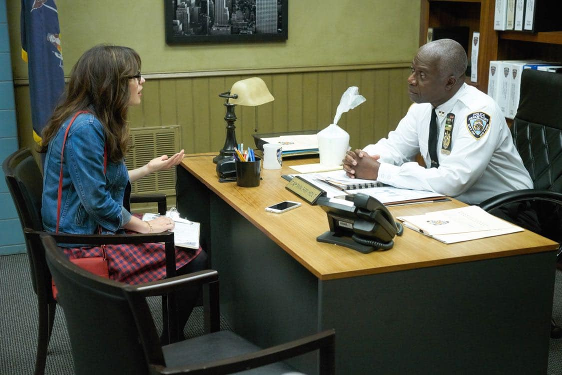 "NEW GIRL: L-R: Zooey Deschanel and guest star Andre Braugher in the special ""Homecoming"" NEW GIRL/BROOKLYN NINE-NINE crossover episode of NEW GIRL airing Tuesday, Oct. 11 (8:31-9:01 PM ET/PT) on FOX. ©2015 Fox Broadcasting Co. Cr: Adam Taylor/FOX"