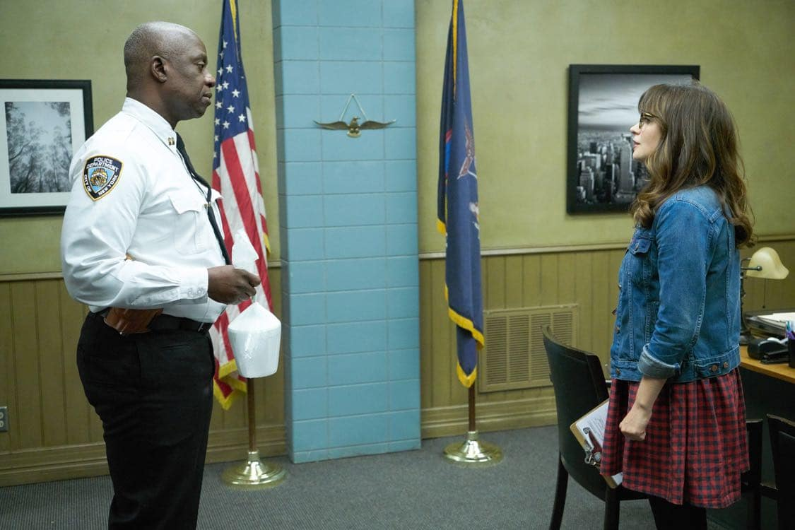 "NEW GIRL: L-R: Guest star Andre Braugher and Zooey Deschanel in the special ""Homecoming"" NEW GIRL/BROOKLYN NINE-NINE crossover episode of NEW GIRL airing Tuesday, Oct. 11 (8:31-9:01 PM ET/PT) on FOX. ©2015 Fox Broadcasting Co. Cr: Adam Taylor/FOX"