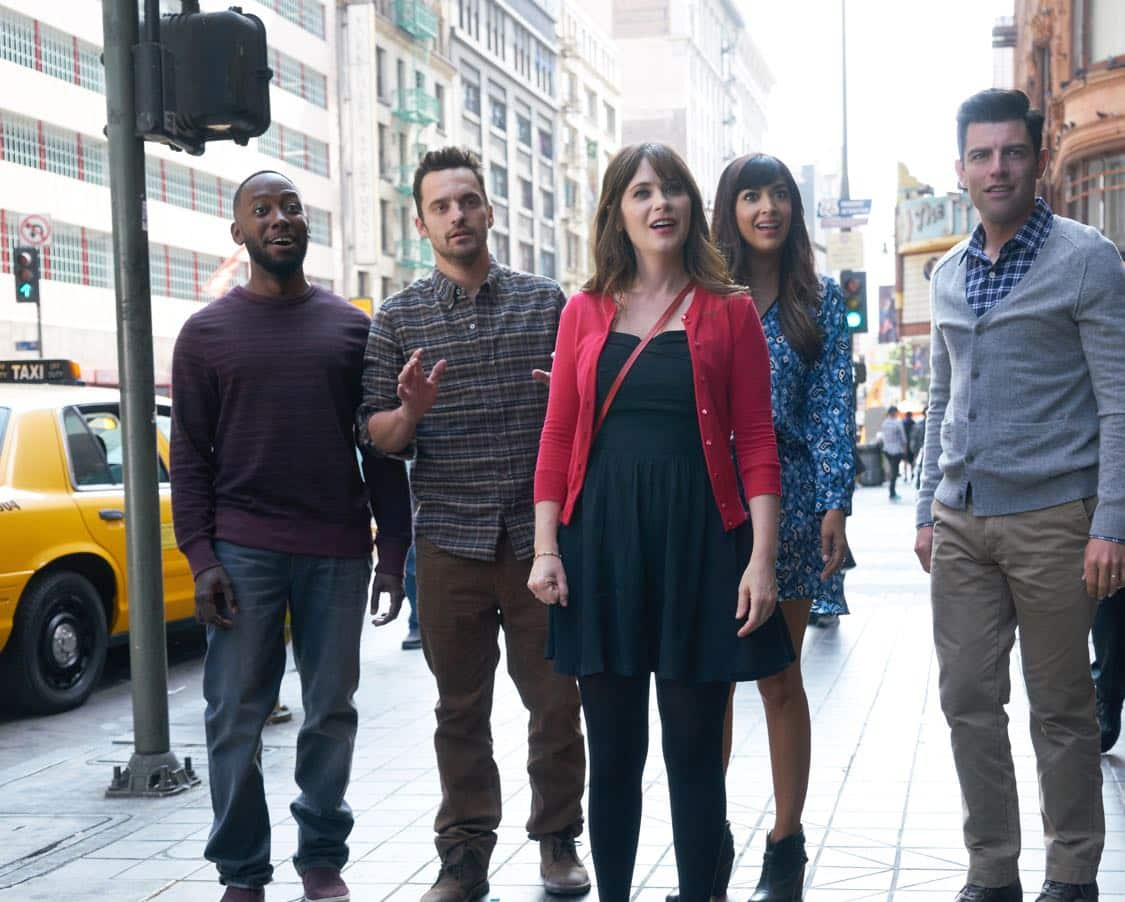 "NEW GIRL: L-R: Lamorne Morris, Jake Johnson, Zooey Deschanel, Hannah Simone and Max Greenfield in the special ""Homecoming"" NEW GIRL/BROOKLYN NINE-NINE crossover episode of NEW GIRL airing Tuesday, Oct. 11 (8:31-9:01 PM ET/PT) on FOX. ©2015 Fox Broadcasting Co. Cr: Adam Taylor/FOX"