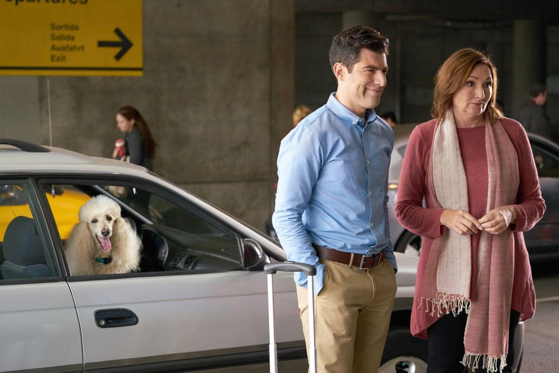 "NEW GIRL: L-R: Max Greenfield and guest star Nora Dunn in the special ""Homecoming"" NEW GIRL/BROOKLYN NINE-NINE crossover episode of NEW GIRL airing Tuesday, Oct. 11 (8:31-9:01 PM ET/PT) on FOX. ©2015 Fox Broadcasting Co. Cr: Adam Taylor/FOX"