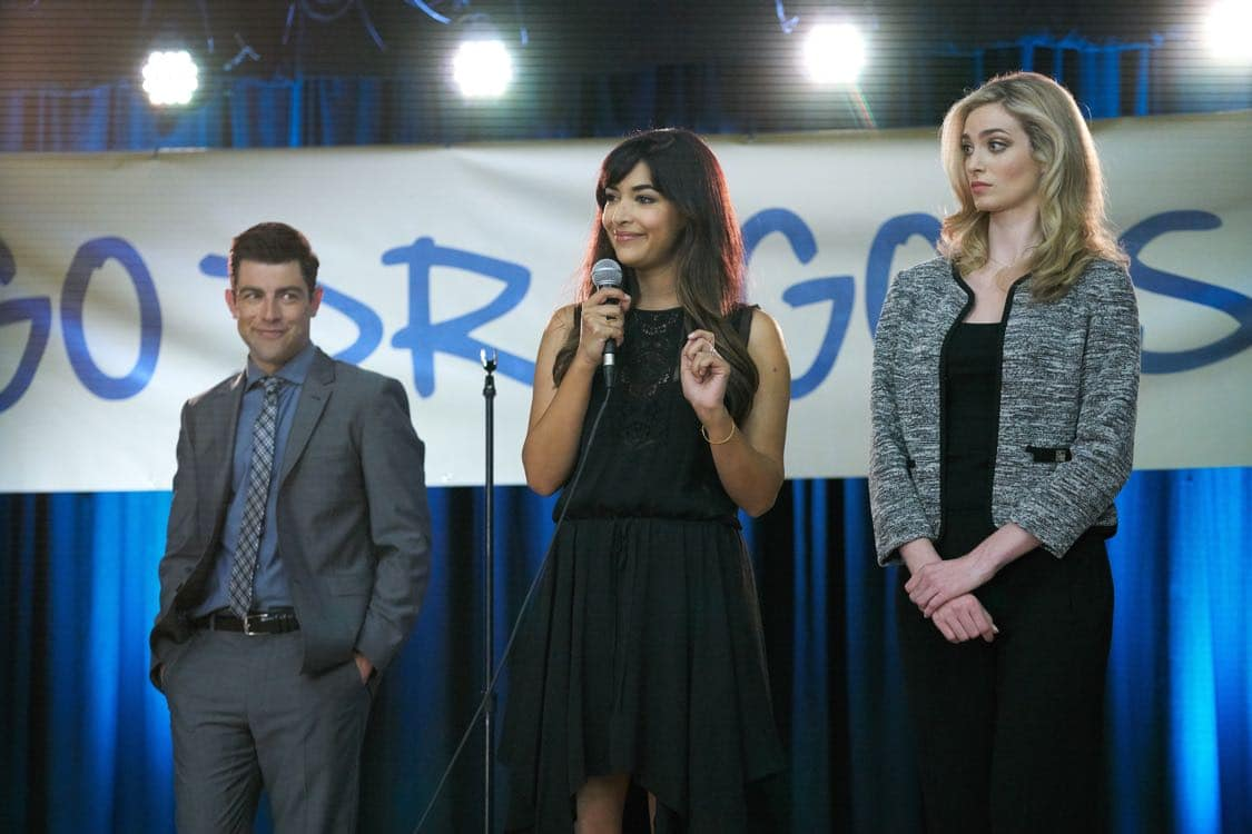 "NEW GIRL: L-R: Max Greenfield, Hannah Simone and guest star Allegra Edwards in the special ""Homecoming"" NEW GIRL/BROOKLYN NINE-NINE crossover episode of NEW GIRL airing Tuesday, Oct. 11 (8:31-9:01 PM ET/PT) on FOX. ©2015 Fox Broadcasting Co. Cr: Adam Taylor/FOX"
