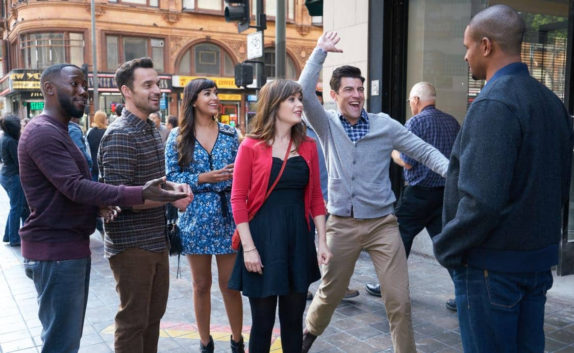 "NEW GIRL: L-R: Lamorne Morris, Jake Johnson, Hannah Simone, Zooey Deschanel, Max Greenfield and guest star Damon Wayans, Jr. in the special ""Homecoming"" NEW GIRL/BROOKLYN NINE-NINE crossover episode of NEW GIRL airing Tuesday, Oct. 11 (8:31-9:01 PM ET/PT) on FOX. ©2015 Fox Broadcasting Co. Cr: Adam Taylor/FOX"