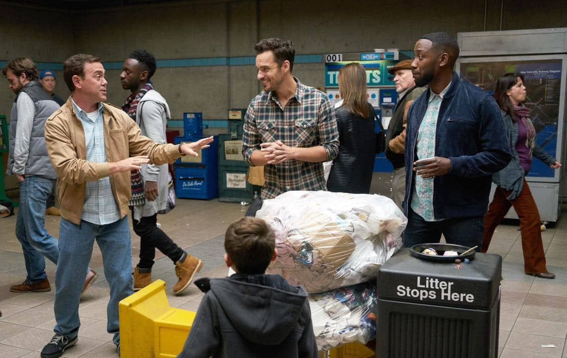 "NEW GIRL: L-R: Guest star Joe Lo Truglio, Jake Johnson and Lamorne Morris in the special ""Homecoming"" NEW GIRL/BROOKLYN NINE-NINE crossover episode of NEW GIRL airing Tuesday, Oct. 11 (8:31-9:01 PM ET/PT) on FOX. ©2015 Fox Broadcasting Co. Cr: Adam Taylor/FOX"