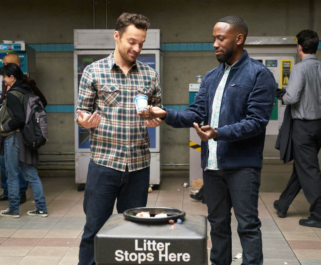 "NEW GIRL: L-R: Jake Johnson and Lamorne Morris in the special ""Homecoming"" NEW GIRL/BROOKLYN NINE-NINE crossover episode of NEW GIRL airing Tuesday, Oct. 11 (8:31-9:01 PM ET/PT) on FOX. ©2015 Fox Broadcasting Co. Cr: Adam Taylor/FOX"