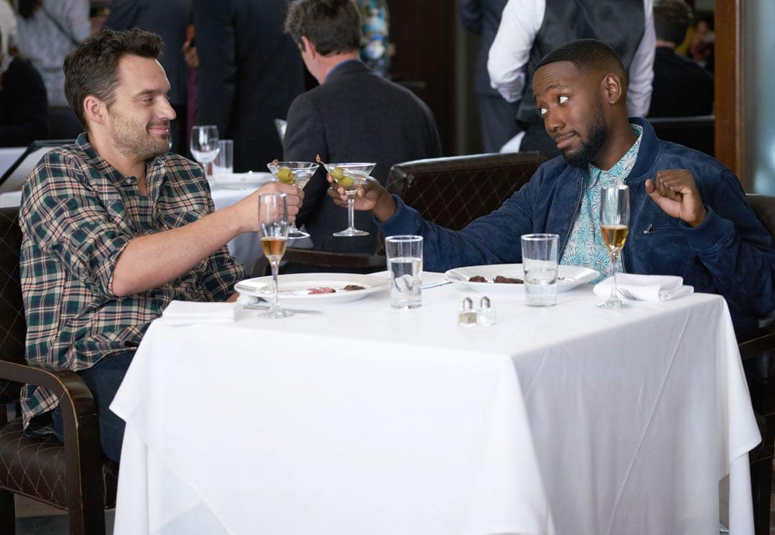 "NEW GIRL: L-R: Lamorne Morris and Jake Johnson in the special ""Homecoming"" NEW GIRL/BROOKLYN NINE-NINE crossover episode of NEW GIRL airing Tuesday, Oct. 11 (8:31-9:01 PM ET/PT) on FOX. ©2015 Fox Broadcasting Co. Cr: Adam Taylor/FOX"