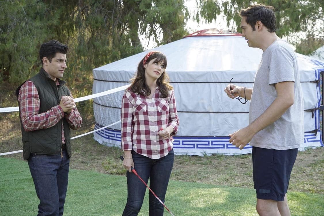 "NEW GIRL: L-R: Max Greenfield, Zooey Deschanel and guest star Nelson Franklin in the "" Africa or Retractable S'mores Pole"" episode of NEW GIRL airing Tuesday, Oct. 4 (8:30-9:00 PM ET/PT) on FOX. ©2016 Fox Broadcasting Co. Cr: Ray Mickshaw/FOX"