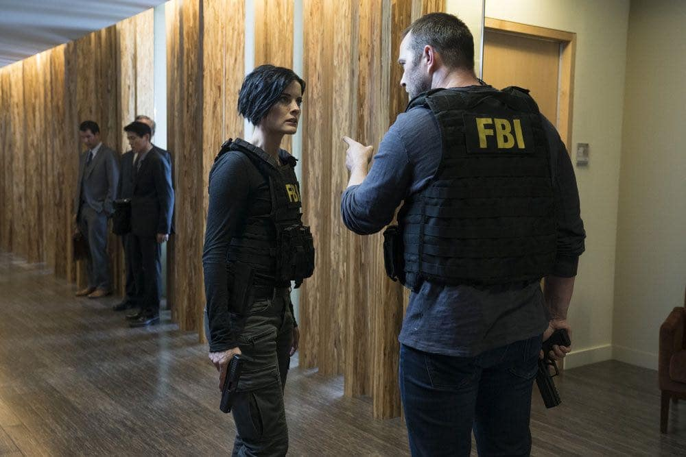 "BLINDSPOT-- ""Condone Untidiest Thefts"" Episode 205 -- Pictured: (l-r) Jaimie Alexander as Jane Doe, Sullivan Stapleton as Kurt Weller -- (Photo by: Peter Kramer/NBC)"