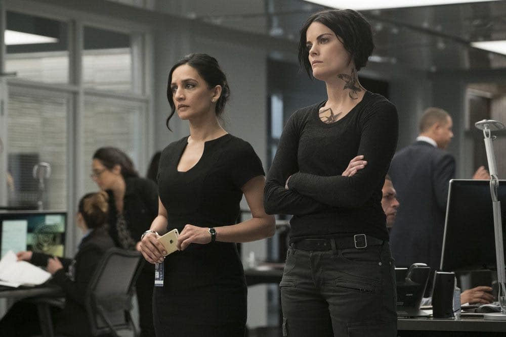 "BLINDSPOT -- ""Condone Untidiest Thefts"" Episode 205 -- Pictured: (l-r) Archie Panjabi as Nas Kamal, Jaimie Alexander as Jane Doe -- (Photo by: Peter Kramer/NBC)"