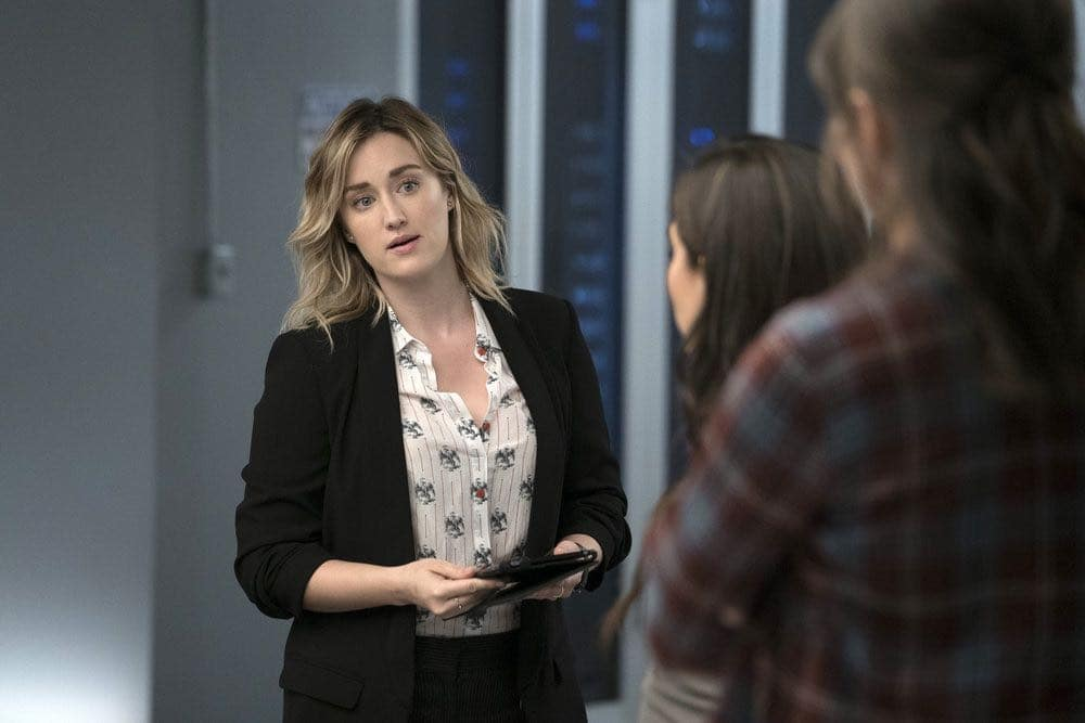 "BLINDSPOT -- ""Condone Untidiest Thefts"" Episode 205 -- Pictured: (l-r) Ashley Johnson as Patterson, Audrey Esparza as Tasha Zapata, Trieste Kelly Dunn as Allison Knight -- (Photo by: Peter Kramer/NBC)"