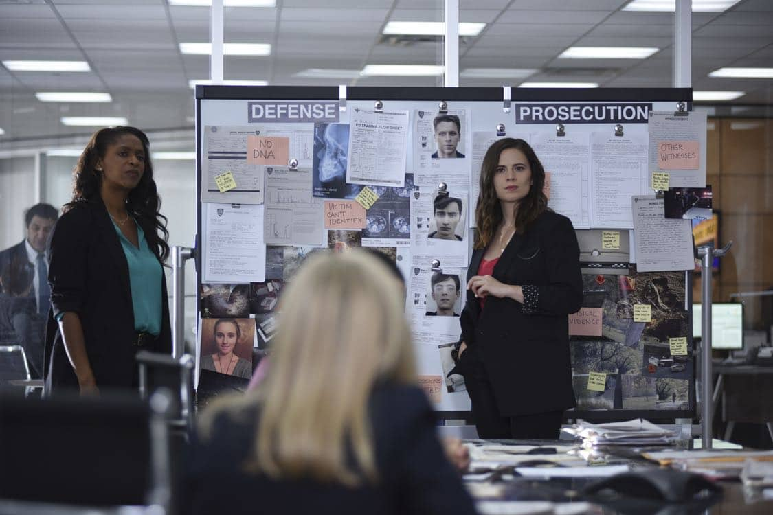 """CONVICTION - """"Bridge & Tunnel Vision"""" – Hayes confronts Wallace head-on, investigating the case that made his career ten years ago: the Prospect 3. Three young white men confessed to the rape and robbery of a young black woman. Hayes hopes to catch Wallace off-guard with the team's investigation, but the complex case serves up a major surprise. When the young woman's character takes a hit in the press during the investigation, she is victimized for a second time, which Hayes takes personally, on """"Conviction,"""" MONDAY, OCTOBER 10 (10:01-11:00 p.m. EDT), on the ABC Television Network. (ABC/John Medland) MERRIN DUNGEY, HAYLEY ATWELL"""