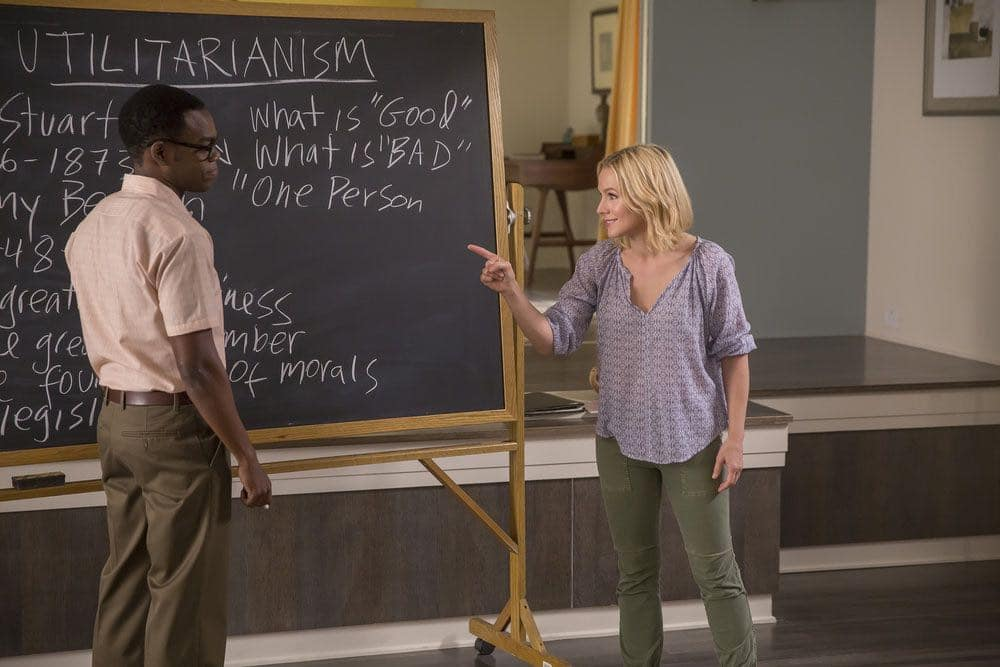 "THE GOOD PLACE -- ""Category 55 Emergency Doomsday Crisis"" Episode 109 -- Pictured: (l-r) William Jackson Harper as Chidi, Kristen Bell as Eleanor -- (Photo by: Ron Batzdorff/NBC)"