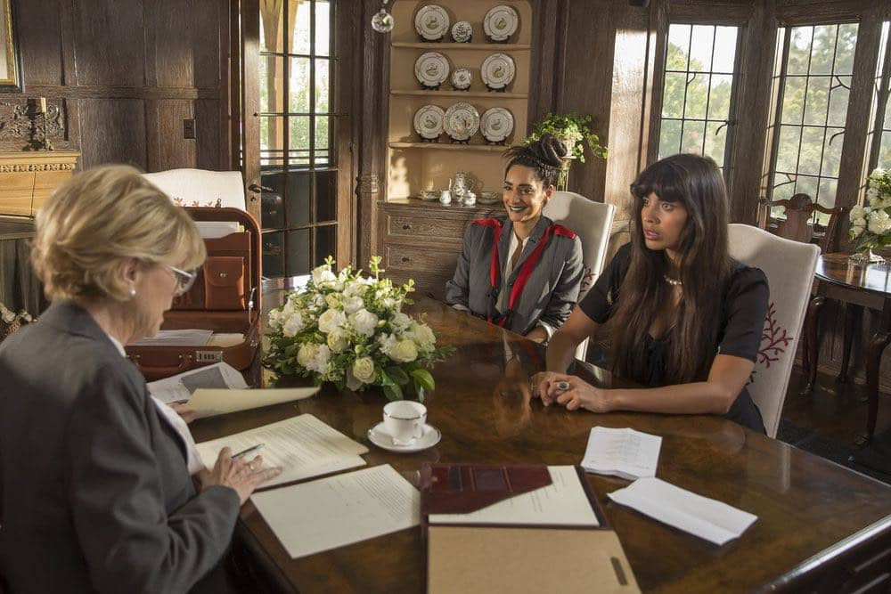 "THE GOOD PLACE -- ""Category 55 Emergency Doomsday Crisis"" Episode 109 -- Pictured: (l-r) Rebecca Hazlewood as Kamilah, Jameela Jamil as Tahani Al-Jamil -- (Photo by: Ron Batzdorff/NBC)"
