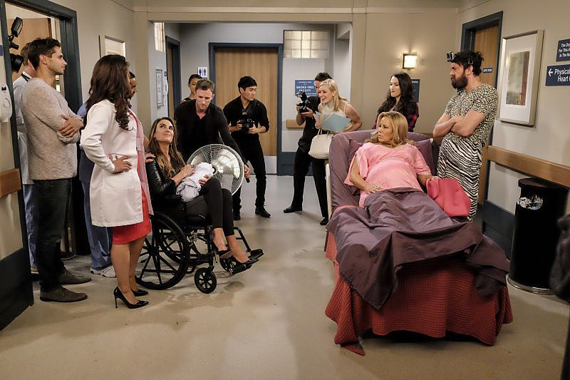 """""""And The Two Openings: Part Two"""" -- Pictured: Caroline Channing (Beth Behrs), Sophie (Jennifer Coolidge), Max Black (Kat Dennings) and Oleg (Jonathan Kite). When Sophie goes into labor just before the Dessert Bar's grand opening, she demands that Max and Caroline be present for the birth. Also, the girls run into problems when they don't secure a liquor license for their new venue, on the sixth season premiere of 2 BROKE GIRLS, Monday, Oct. 10 (9:30-10:00 PM, ET/PT) on the CBS Television Network. Photo: Darren Michaels/Warner Bros. Entertainment Inc. © 2016 WBEI. All rights reserved."""