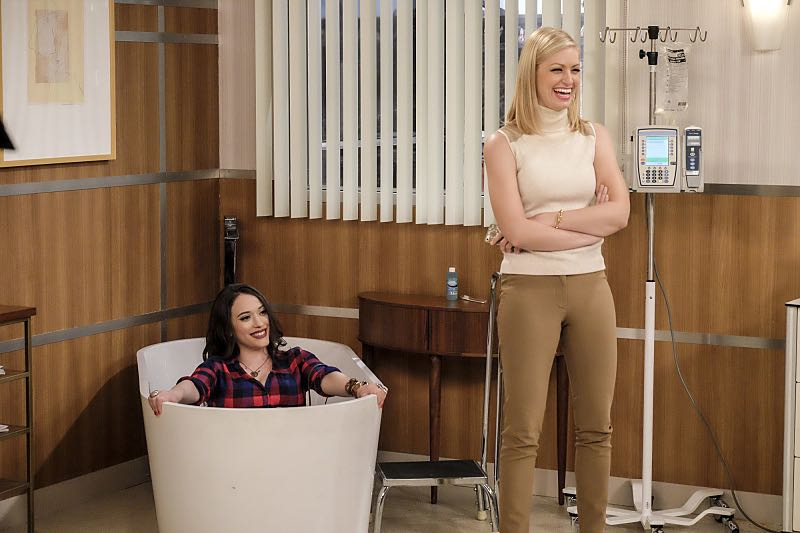 """""""And The Two Openings: Part Two"""" -- Pictured: Max Black (Kat Dennings) and Caroline Channing (Beth Behrs). When Sophie goes into labor just before the Dessert Bar's grand opening, she demands that Max and Caroline be present for the birth. Also, the girls run into problems when they don't secure a liquor license for their new venue, on the sixth season premiere of 2 BROKE GIRLS, Monday, Oct. 10 (9:30-10:00 PM, ET/PT) on the CBS Television Network. Photo: Darren Michaels/Warner Bros. Entertainment Inc. © 2016 WBEI. All rights reserved."""