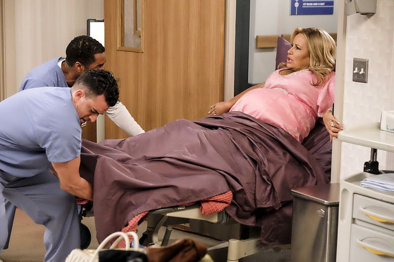 """""""And The Two Openings: Part Two"""" -- Pictured: Sophie (Jennifer Coolidge). When Sophie goes into labor just before the Dessert Bar's grand opening, she demands that Max and Caroline be present for the birth. Also, the girls run into problems when they don't secure a liquor license for their new venue, on the sixth season premiere of 2 BROKE GIRLS, Monday, Oct. 10 (9:30-10:00 PM, ET/PT) on the CBS Television Network. Photo: Darren Michaels/Warner Bros. Entertainment Inc. © 2016 WBEI. All rights reserved."""