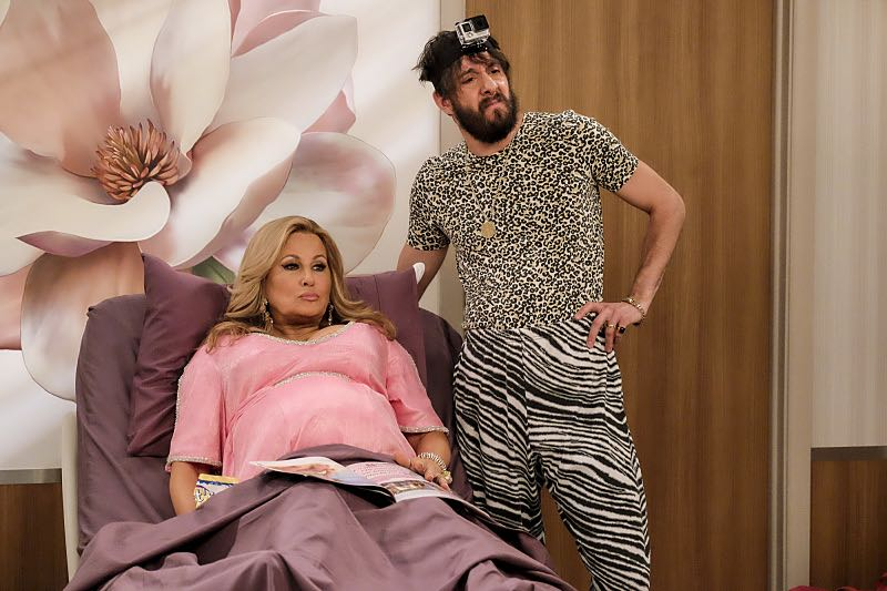 """""""And The Two Openings: Part Two"""" -- Pictured: Sophie (Jennifer Coolidge) and Oleg (Jonathan Kite). When Sophie goes into labor just before the Dessert Bar's grand opening, she demands that Max and Caroline be present for the birth. Also, the girls run into problems when they don't secure a liquor license for their new venue, on the sixth season premiere of 2 BROKE GIRLS, Monday, Oct. 10 (9:30-10:00 PM, ET/PT) on the CBS Television Network. Photo: Darren Michaels/Warner Bros. Entertainment Inc. © 2016 WBEI. All rights reserved."""