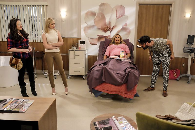 """""""And The Two Openings: Part Two"""" -- Pictured: Max Black (Kat Dennings), Caroline Channing (Beth Behrs), Sophie (Jennifer Coolidge) and Oleg (Jonathan Kite). When Sophie goes into labor just before the Dessert Bar's grand opening, she demands that Max and Caroline be present for the birth. Also, the girls run into problems when they don't secure a liquor license for their new venue, on the sixth season premiere of 2 BROKE GIRLS, Monday, Oct. 10 (9:30-10:00 PM, ET/PT) on the CBS Television Network. Photo: Darren Michaels/Warner Bros. Entertainment Inc. © 2016 WBEI. All rights reserved."""
