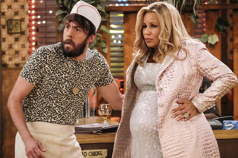 """""""And The Two Openings: Part Two"""" -- Pictured: Oleg (Jonathan Kite) and Sophie (Jennifer Coolidge). When Sophie goes into labor just before the Dessert Bar's grand opening, she demands that Max and Caroline be present for the birth. Also, the girls run into problems when they don't secure a liquor license for their new venue, on the sixth season premiere of 2 BROKE GIRLS, Monday, Oct. 10 (9:30-10:00 PM, ET/PT) on the CBS Television Network. Photo: Darren Michaels/Warner Bros. Entertainment Inc. © 2016 WBEI. All rights reserved."""