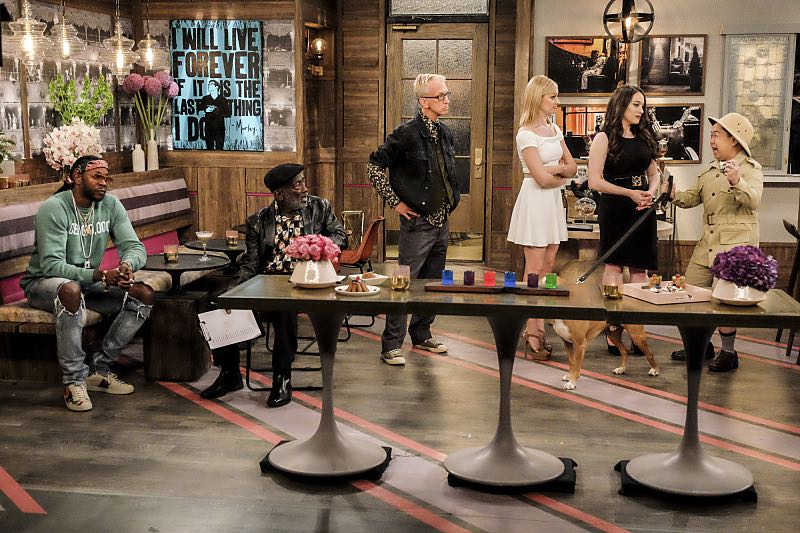 """""""And The Two Openings: Part Two"""" -- Pictured: 2 Chainz, Earl (Garrett Morris), J. Petto (Andy Dick), Caroline Channing (Beth Behrs), Max Black (Kat Dennings) and Han Lee (Matthew Moy). When Sophie goes into labor just before the Dessert Bar's grand opening, she demands that Max and Caroline be present for the birth. Also, the girls run into problems when they don't secure a liquor license for their new venue, on the sixth season premiere of 2 BROKE GIRLS, Monday, Oct. 10 (9:30-10:00 PM, ET/PT) on the CBS Television Network. Photo: Darren Michaels/Warner Bros. Entertainment Inc. © 2016 WBEI. All rights reserved."""