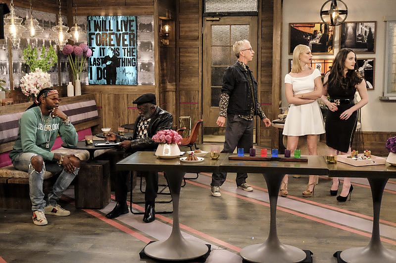 """""""And The Two Openings: Part Two"""" -- Pictured: 2 Chainz, Earl (Garrett Morris), J. Petto (Andy Dick), Caroline Channing (Beth Behrs) and Max Black (Kat Dennings). When Sophie goes into labor just before the Dessert Bar's grand opening, she demands that Max and Caroline be present for the birth. Also, the girls run into problems when they don't secure a liquor license for their new venue, on the sixth season premiere of 2 BROKE GIRLS, Monday, Oct. 10 (9:30-10:00 PM, ET/PT) on the CBS Television Network. Photo: Darren Michaels/Warner Bros. Entertainment Inc. © 2016 WBEI. All rights reserved."""