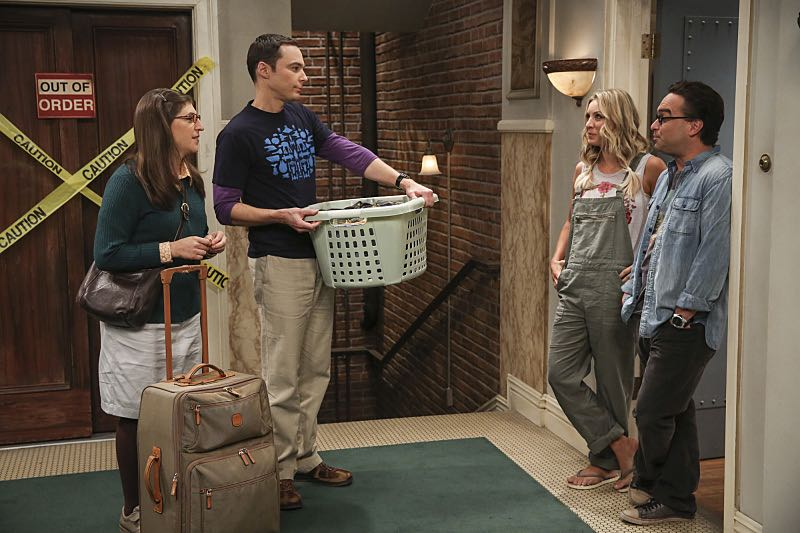 """The Cohabitation Experimentation"" -- Pictured: Amy Farrah Fowler (Mayim Bialik), Sheldon Cooper (Jim Parsons), Penny (Kaley Cuoco) and Leonard Hofstadter (Johnny Galecki). When Amy's apartment floods, she proposes a ""cohabitation experiment"" with Sheldon. Also, Howard and Bernadette are upset when Koothrappali learns the gender of the baby before them, on THE BIG BANG THEORY, Monday, Oct. 10 (8:00-8:31 PM, ET/PT), on the CBS Television Network. Photo: Michael Yarish/Warner Bros. Entertainment Inc. © 2016 WBEI. All rights reserved."