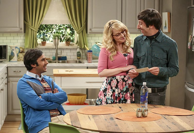 """The Cohabitation Experimentation"" -- Pictured: Rajesh Koothrappali (Kunal Nayyar), Bernadette (Melissa Rauch) and Howard Wolowitz (Simon Helberg). When Amy's apartment floods, she proposes a ""cohabitation experiment"" with Sheldon. Also, Howard and Bernadette are upset when Koothrappali learns the gender of the baby before them, on THE BIG BANG THEORY, Monday, Oct. 10 (8:00-8:31 PM, ET/PT), on the CBS Television Network. Photo: Michael Yarish/Warner Bros. Entertainment Inc. © 2016 WBEI. All rights reserved."